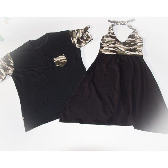 Apa póló - tini lánya ruha szett (fekete-terep)