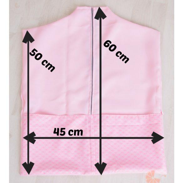 Ovis zsák és torna zsák egyedi névvel és/vagy jellel  /rózsaszín+fehér alapon virágos/