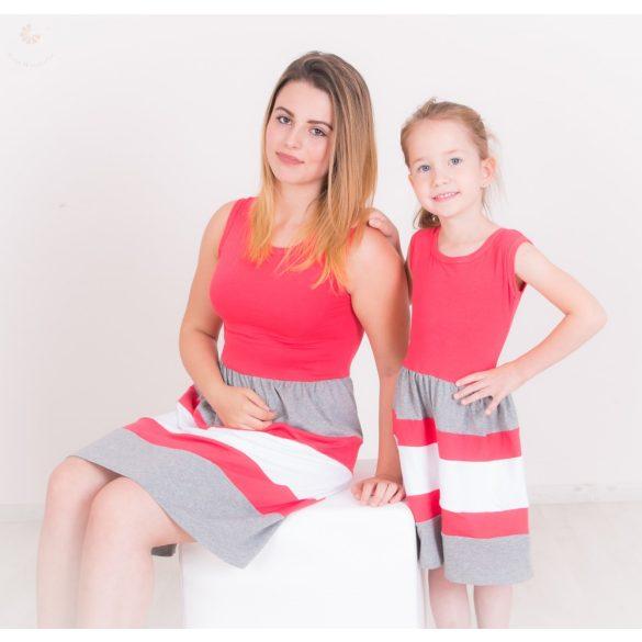Anya - lánya ruha szett (Lazac-szürke-fehér)