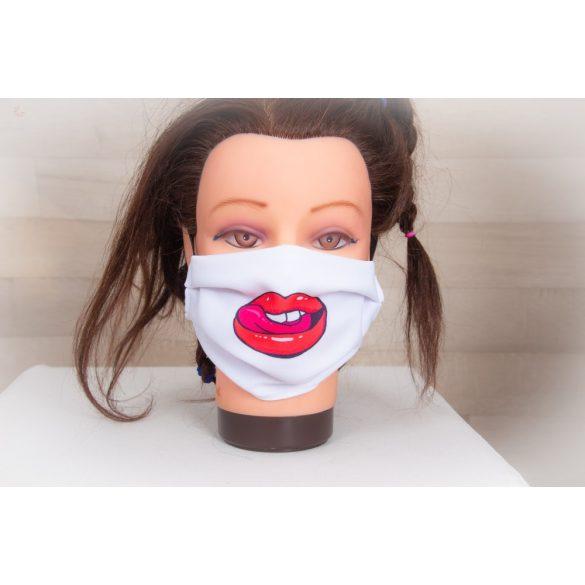 Designer textil maszk, egyedi maszk - nyelves száj