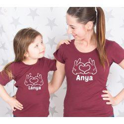 Anya-gyerek, anya-lánya póló szett - szívecske VÁLASZTHATÓ SZÍNEK