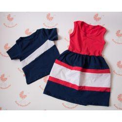 Tesós ruha szett - lányos maxi ruha és kisfiús póló