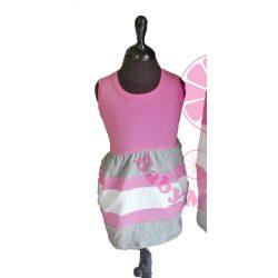 Gyerek ruha, baba ruha (rózsaszín-szürke-fehér)