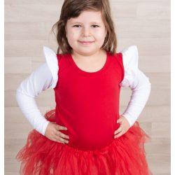 Piros gyerek felső fehér fodorral a vállán