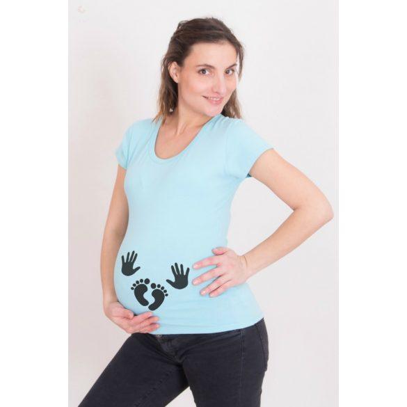 Kismama póló (mintás, feliratos) - Kezecskék, talpacskák