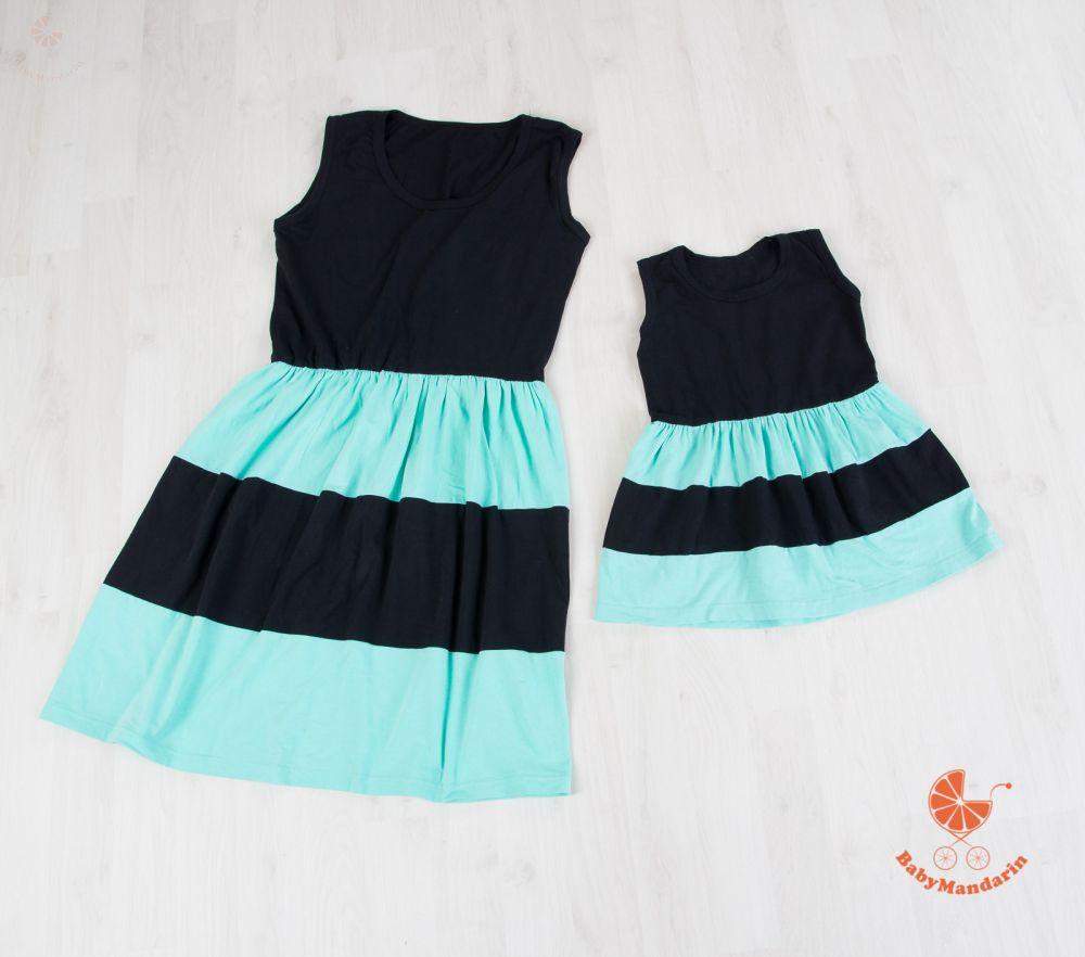 a8ff3fb6af Anya - lánya ruha szett (fekete-menta) - BabyMandarin - Saját ...