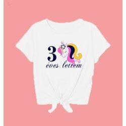 Szülinapos pamut gyerek görcsös póló - unikornis