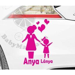 Autó matrica EGYEDI névvel kedves grafikával ANYA LÁNYA
