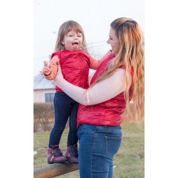 Anya - lánya piros fekete pöttyös tavaszi mellény szett pamut béléssel