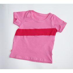 Baba póló rózsaszín, pink csíkkal