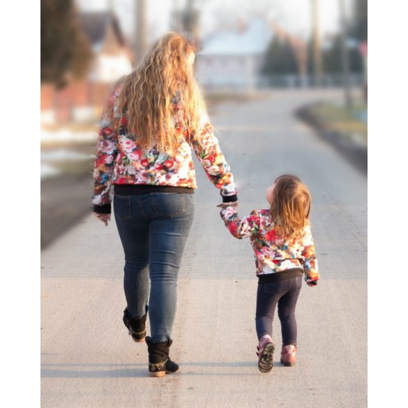Anya - lánya aprósteppelt virágos tavaszi kabát szett bélés nélkül