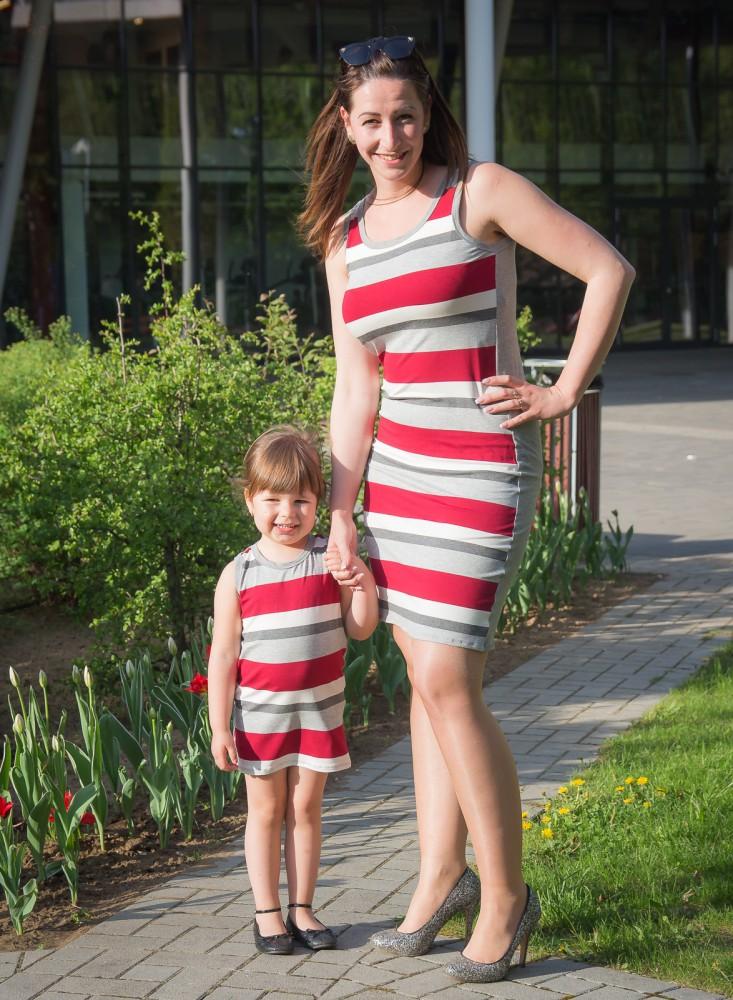 c54724d15a Anya - lánya ruha szett (bordó csíkos) - BabyMandarin - Saját ...