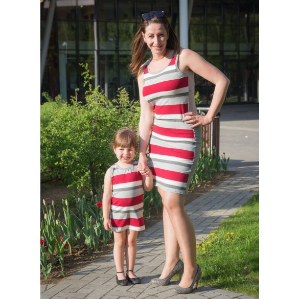 Anya - lánya ruha szett (bordó csíkos)
