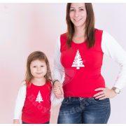 Karácsonyi anya-lánya felső szett (Karácsonyfás) anya-lánya póló szett