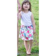 Kislány szoknya - fehér alapon virágos