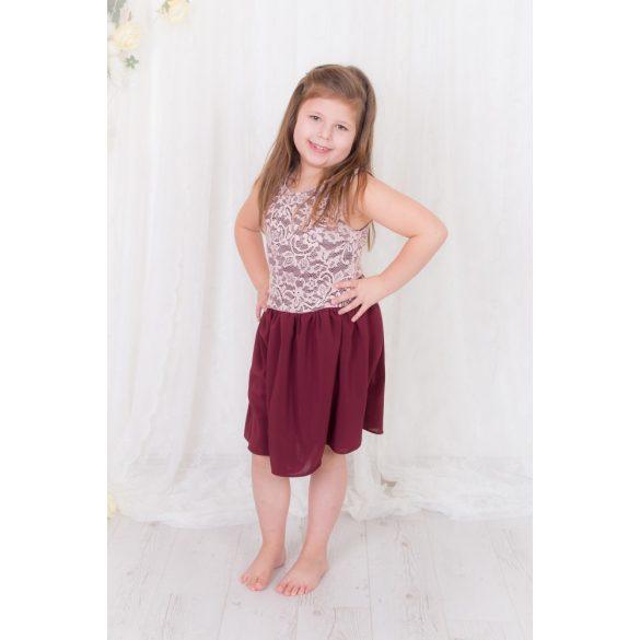 ALKALMI  lányka ruha, gyerek ruha (Púder csipke felső rész, bordó  muszlin szoknyrésszel)