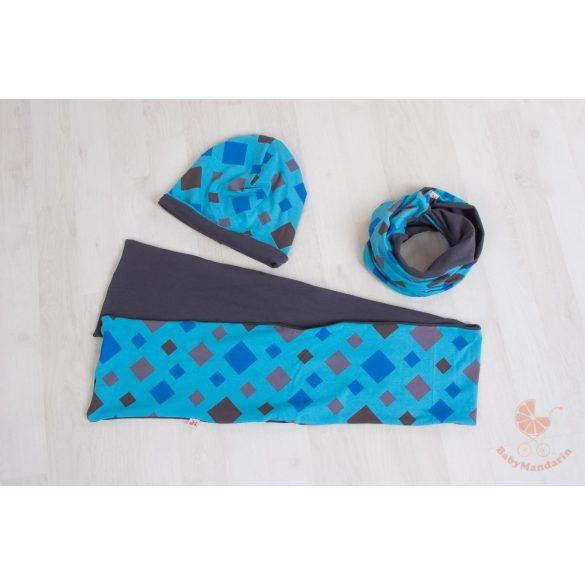 Pamut sapka és sál szett (Kék rombuszos)