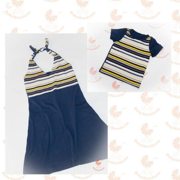 Anya fia ruha szett (Anya ruha fia póló- kék-sárga csíkos)