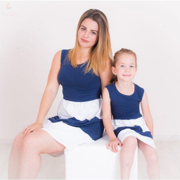 Anya - lánya ruha szett (sötétkék-fehér)