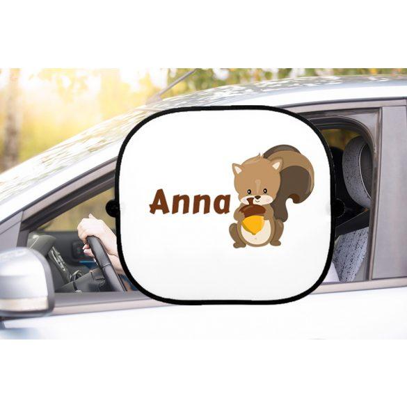 Autós napellenző egyedi névvel Mókus