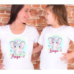 Anya lánya póló szett Elefántos