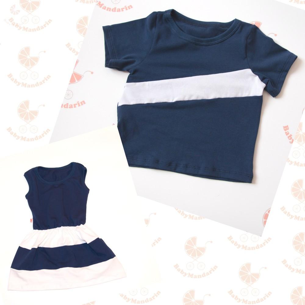 562f878fac Apa póló - lánya ruha szett (sötétkék-fehér) - BabyMandarin - Saját ...
