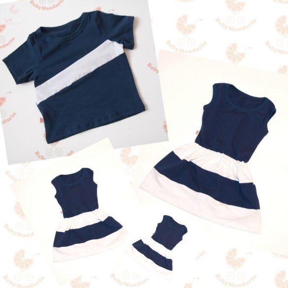 Anya két lánya ruha - Apa póló (sötétkék-fehér)