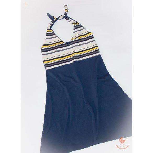 Anya - lánya ruha szett (Nyakba akasztós sárga-kék csíkos)