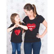 Anya-lánya póló szett /Applikált  piros-ezüst SIMOGATÓS szívecskével/ VÁLASZTHATÓ PÓLÓ SZÍN