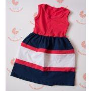 Gyerek ruha, baba ruha (lazac-sötétkék-fehér)