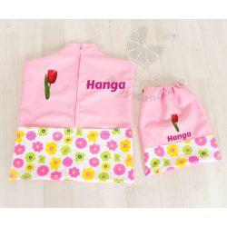 Teljes óvodai szett egyedi névvel és jellel  /rózsaszín+virágos/ AJÁNDÉK táskával