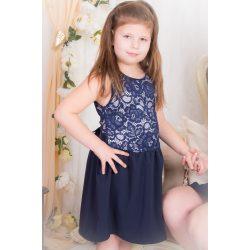 ALKALMI  lányka ruha, gyerek ruha (Sötétkék csipke felső rész, sötétkék muszlin szoknyarésszel)