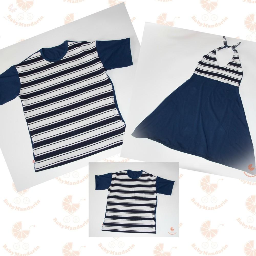 b62dc08d4e1 Anya ruha - Apa fia póló (Matróz csíkos-sötétkék) - BabyMandarin ...