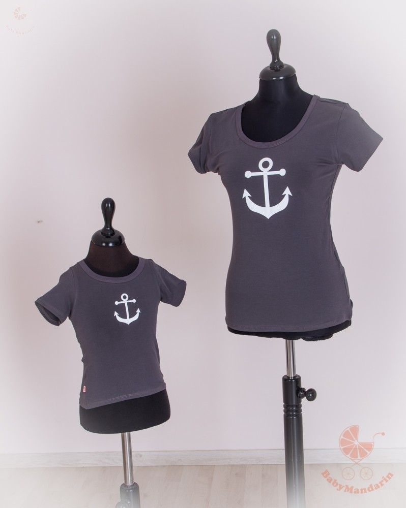 82beb3dd70 Anya lánya póló szett - tengerész sötétszürke - BabyMandarin - Saját ...