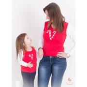 Karácsonyi anya-lánya felső szett (Cukorkás) anya-lánya póló szett
