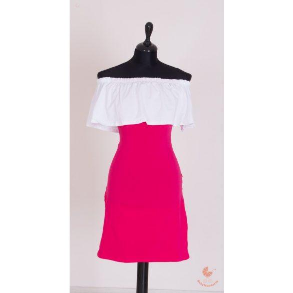Gyerek fodros ruha, baba fodros ruha (fehér-pink)