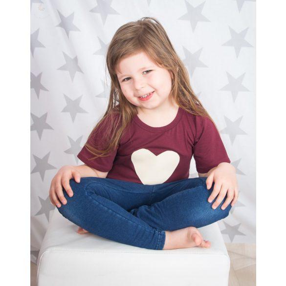 Anya-lánya póló szett /Applikált  vajszínű műbőr szívecskével/ VÁLASZTHATÓ PÓLÓ SZÍN