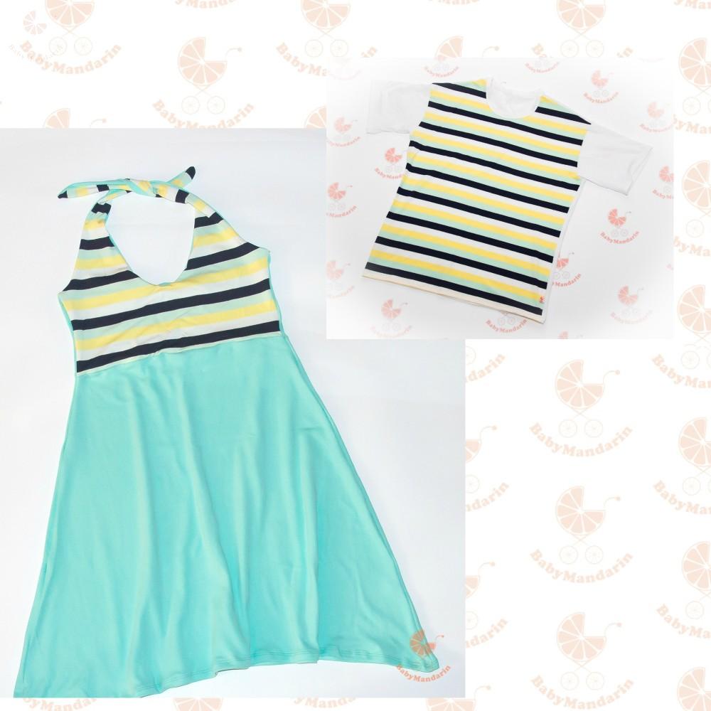97c5f9947b Szerelmespár ruha szett (menta csíkos) - BabyMandarin - Saját ...