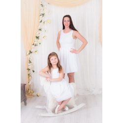 ALKALMI anya lánya ruha szett (Fehér csipke felső rész, fehér muszlinnal)