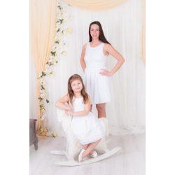 ALKALMI anya lánya ruha szett (Fehér csipke felső rész, fehér muszlin szoknyarésszel)