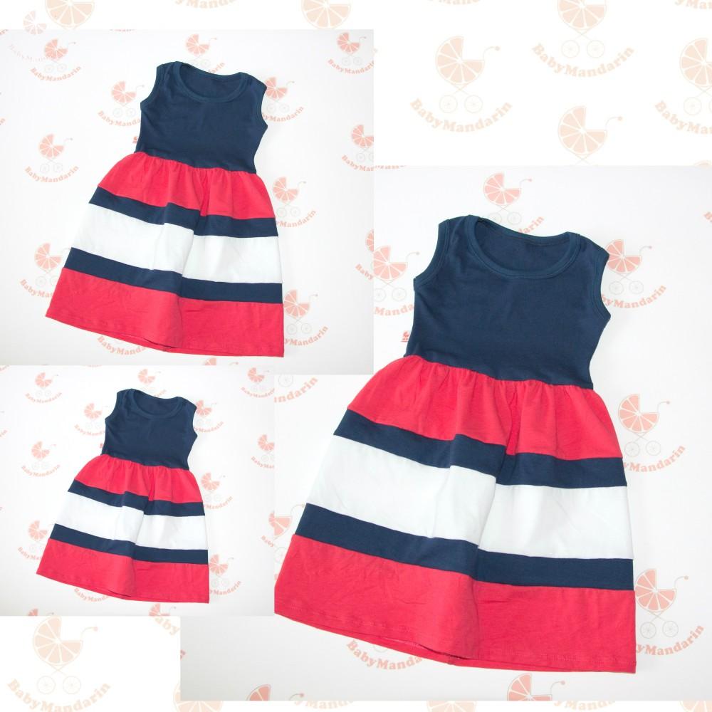 da03fa4002 Anya - két lánya ruha szett (sötétkék-lazac-fehér) - BabyMandarin ...