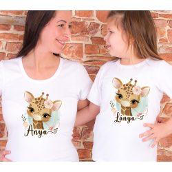 Anya lánya póló szett Zsiráfos