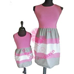 Anya - lánya ruha szett (rózsaszín-szürke-fehér)