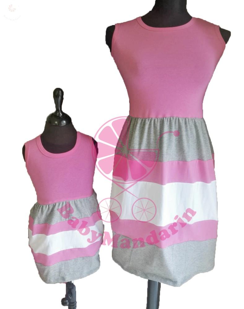 99e26a694c Anya - lánya ruha szett (rózsaszín-szürke-fehér) - BabyMandarin ...