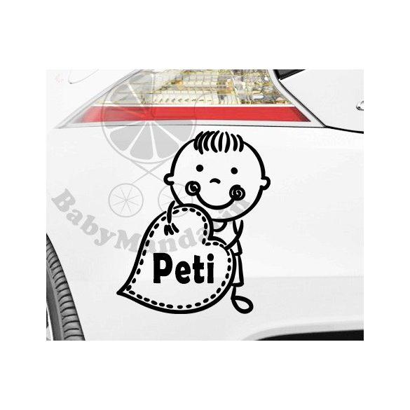 Autó matrica EGYEDI névvel kedves grafikával Fiús1