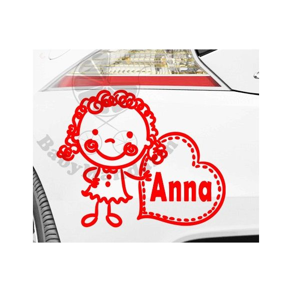 Autó matrica EGYEDI névvel kedves grafikával Lányos2