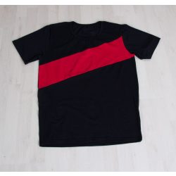 Apa póló  fekete, piros csíkkal