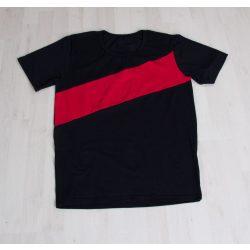 Apa póló  fekete, piros csíkkal Karácsonyi szetthez