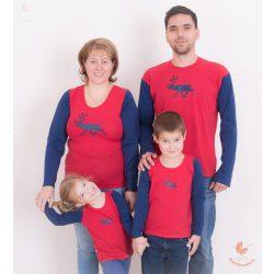 Teljes karácsonyi családi ruha szett RÉNSZARVASOS (Női felső, férfi felső, 2 gyerek felső)