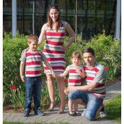 Bordó csíkos családi szett (Női ruha, gyerek ruha, gyerek póló, férfi póló)